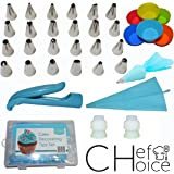 ChefChoice Professional Cake Decorating Supplies – 35 pc Cake Decorating Kit or Set – 24 Cake Decorating Tips, 1 Decorating Pen, 2 Silicone Piping Bags, 2 Couplers, 6 Cupcake Liners – Food Safe.
