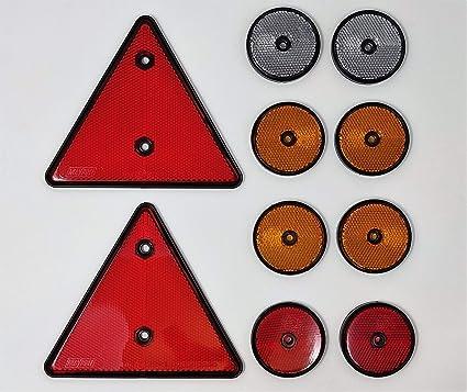 Bits4reasons Maypole Mp1699 Reflektor Kit 2 X Rotes Dreieck 2 X Runde Rote Und 4 X Runde Bernsteine 2 X Runde Transparente Anhängerkupplung Reflektierendes Set Auto
