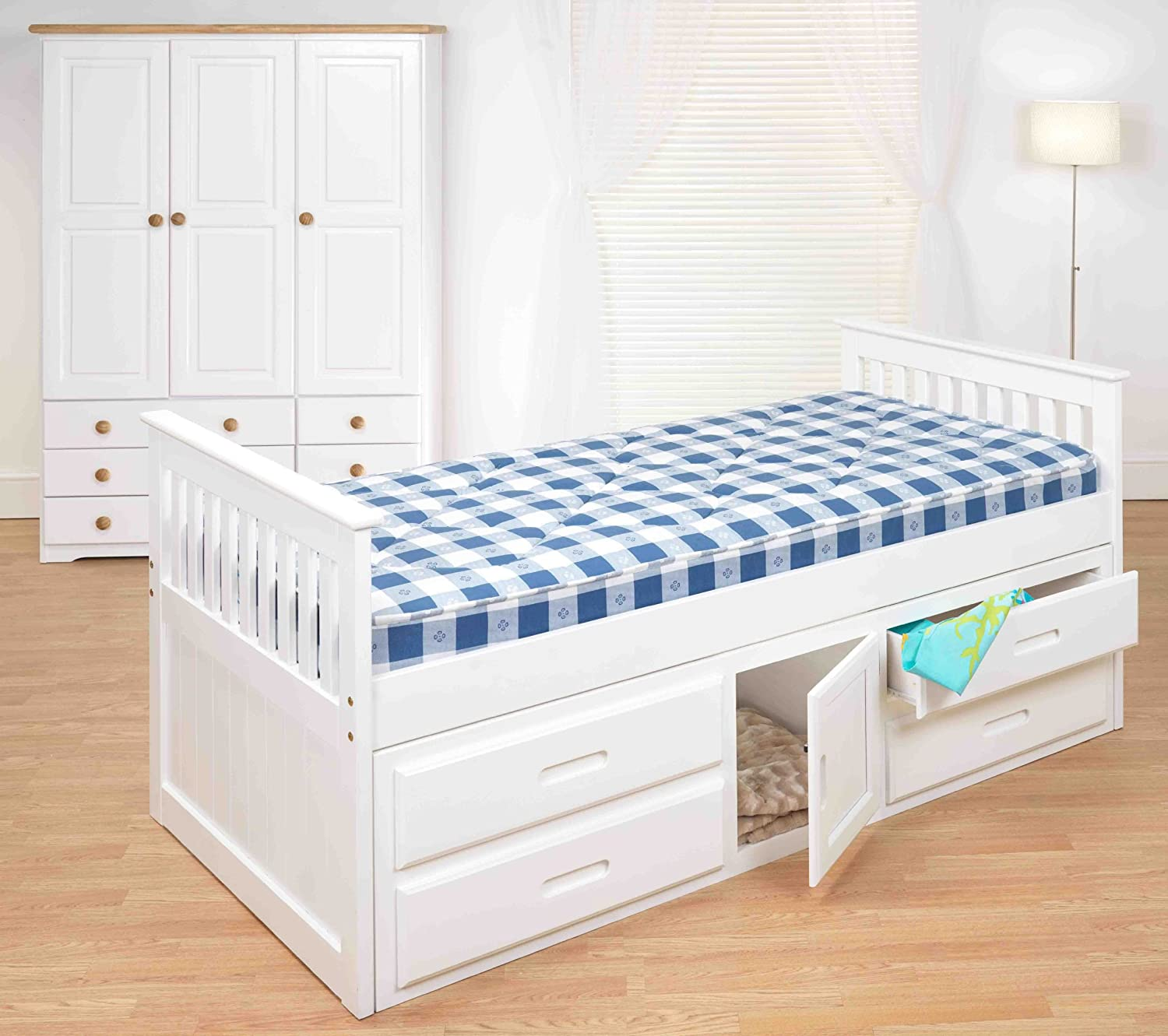 Single bed frame with drawers - Cloudseller 3ft Single Captain Cabin Storage Solid Pine Wooden Bed Bedframe White Pine Finish Amazon Co Uk Kitchen Home