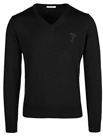 59d3af1669e0 Amazon.com  Versace Collection Black Wool V-neck Sweater (M)  Clothing