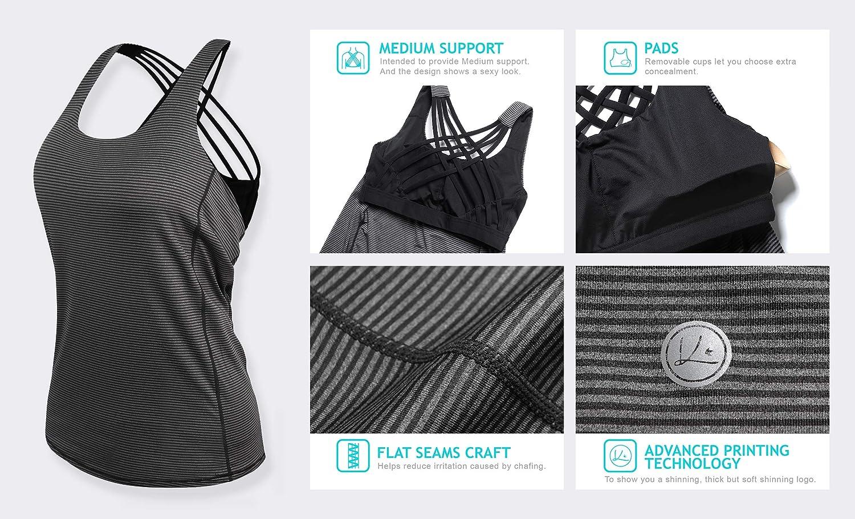 QUEENIEKE Chaleco Deportivo para Mujeres Cruzado-Cruzado 2 en 1 Color Negro Tama/ño L