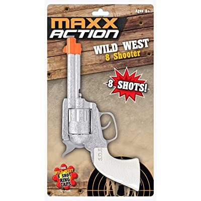 Sunny Days Entertainment Wild West Toy Cap Pistol – Western 8 Shooter Role Play Toys | Cowboy Sheriff Costume Accessory | Ring Caps Sold Separately – Maxx Action, Silver, (Model: 10504): Toys & Games