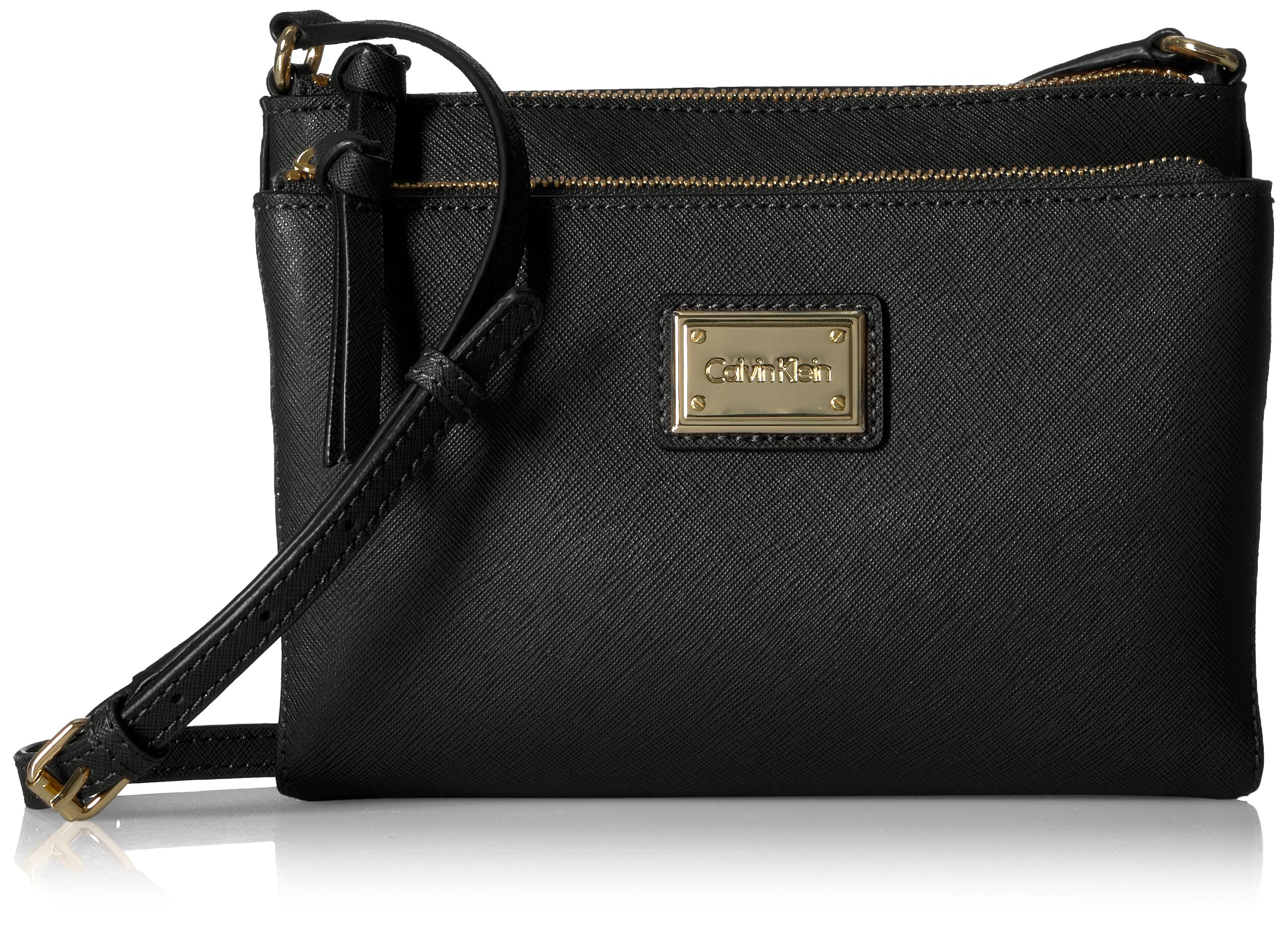 Calvin Klein Saffiano Organizational Crossbody, Black/Gold