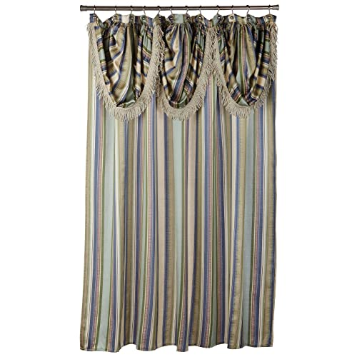 Popular Bath Contempo Blue With Attached Valance Fabric Shower Curtain