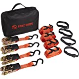 Rocket Straps - Premium Ratchet Tie Downs 4 Pack - 15 Feet - 1500 Pound - Ratchet Straps Ratcheting Hold Downs Motorcycle, ATV, Camping, Lawn Equipment and Truck Use - Storage Bag and Wrap Ties Incl