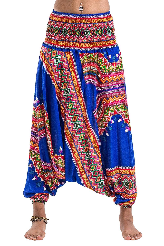 f6ccd0be5ae Harem Pants Unisex Dashiki Jumpsuit Harem Pants for Men   Women in Blue at  Amazon Women s Clothing store