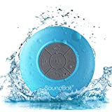 SoundBot® SB510 HD Water Resistant Bluetooth 3.0 Shower Speaker, Handsfree Portable Speakerphone with Built-in Mic, 6hrs of playtime, Control Buttons and Dedicated Suction Cup for Showers, Bathroom, Pool, Boat, Car, Beach, & Outdoor Use, Blue