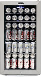 Whynter BR-128WS Beverage Refrigerator With Lock, 120 12oz Cans, Stainless Steel & White