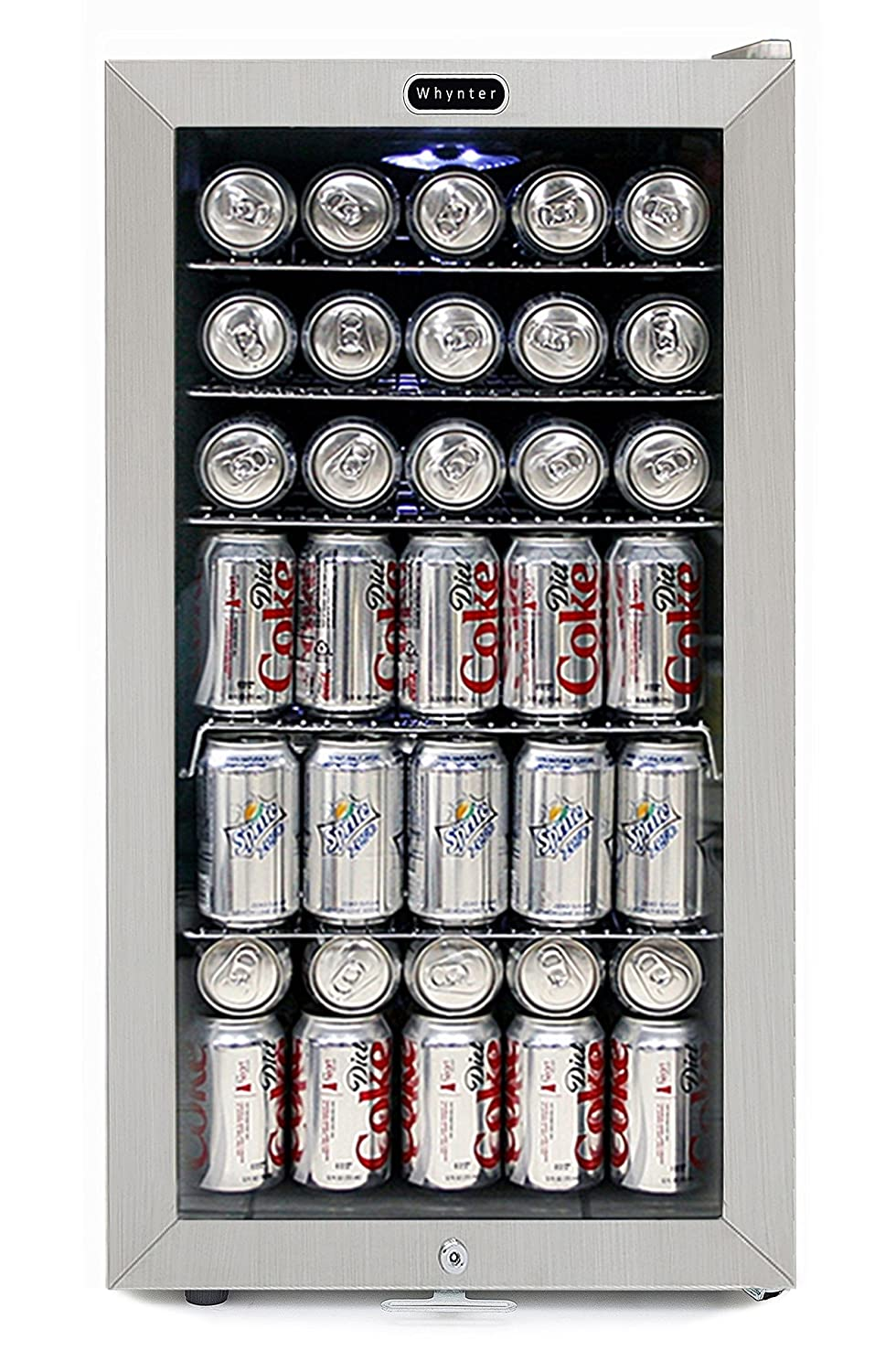 Whynter BR-128WS Lock, 120 Can Capacity, Stainless Steel Beverage Refrigerator White