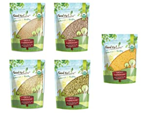 Organic Grains in a Gift Box - Amaranth Seeds, Hulled Barley, Buckwheat Groats, Rye Berries, and Millet Seeds
