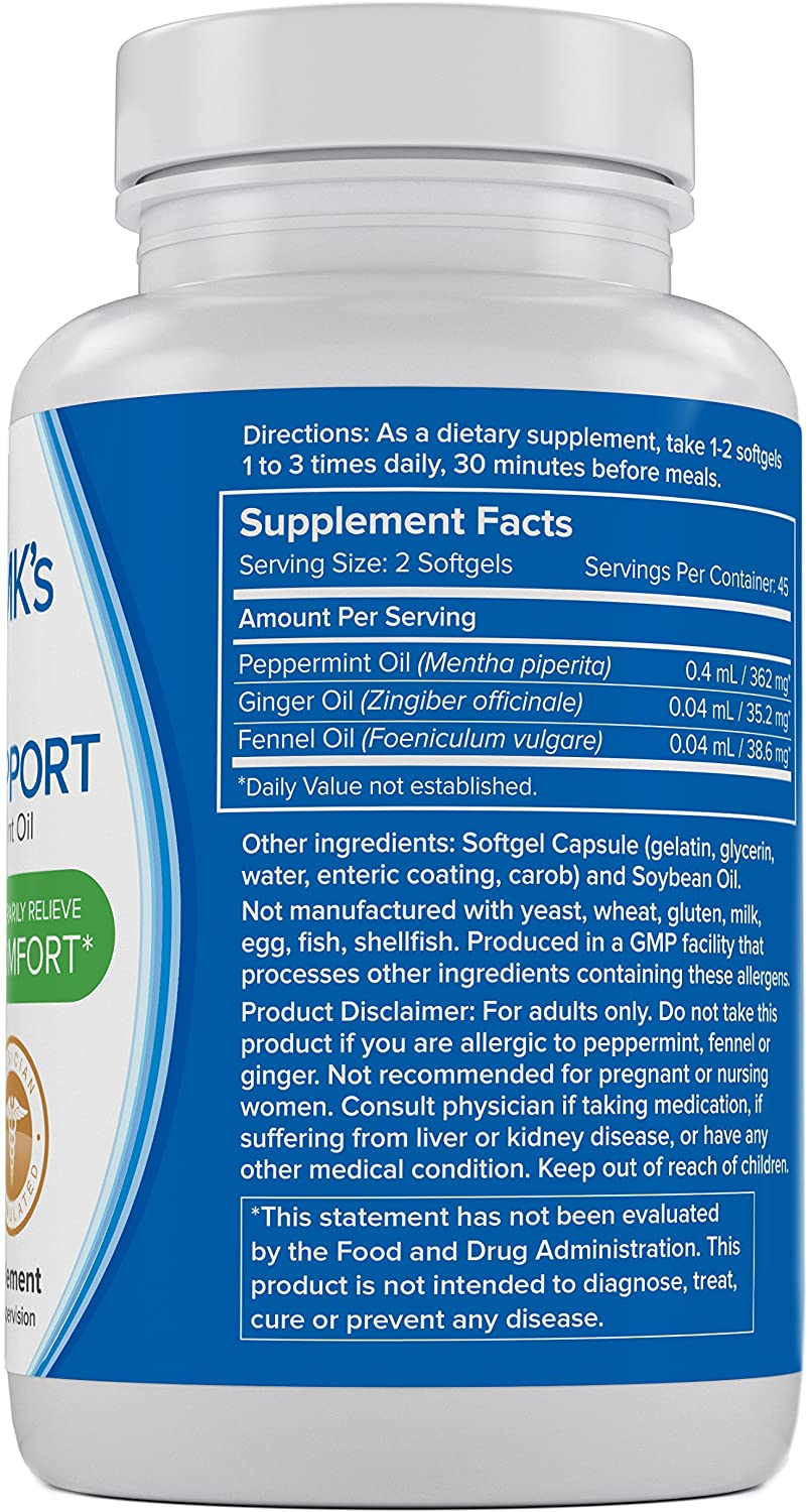 IBS Relief Supplement by Doctor MK's®, Compare to IBgard® Ingredients, 90 Capsules of Enteric Coated Peppermint Oil, Treatment for Irritable Bowel Syndrome, Digestive Support Formula: Health & Personal Care