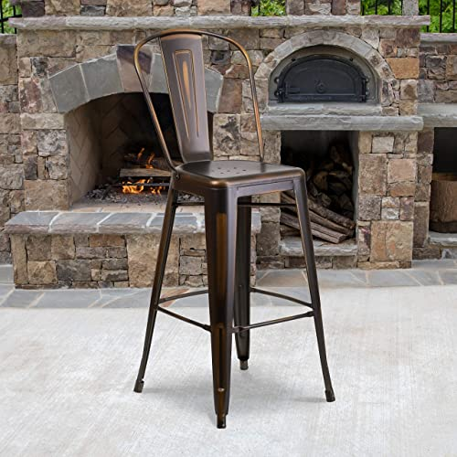 Cheap EMMA OLIVER Commercial Grade 30″ H Distressed Copper Metal Indoor-Outdoor Barstool w/Back outdoor bar stool for sale