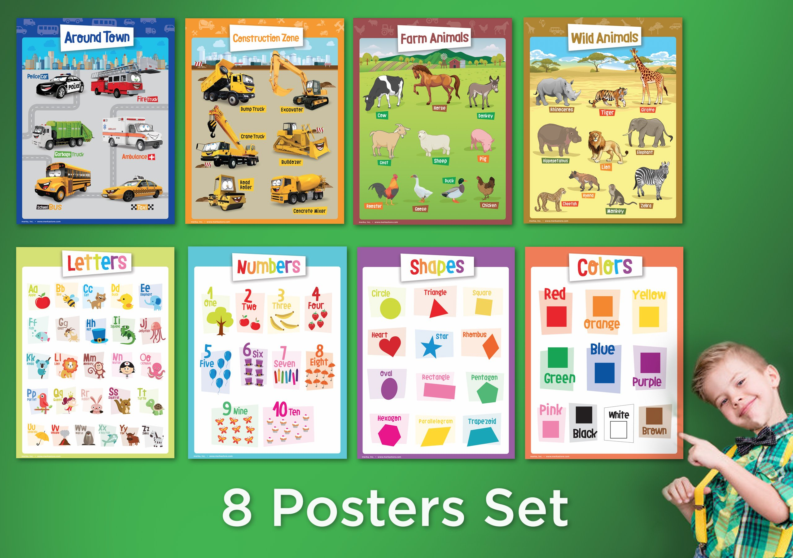 8 Educational Posters for Toddlers - Includes: Alphabet, Numbers ...