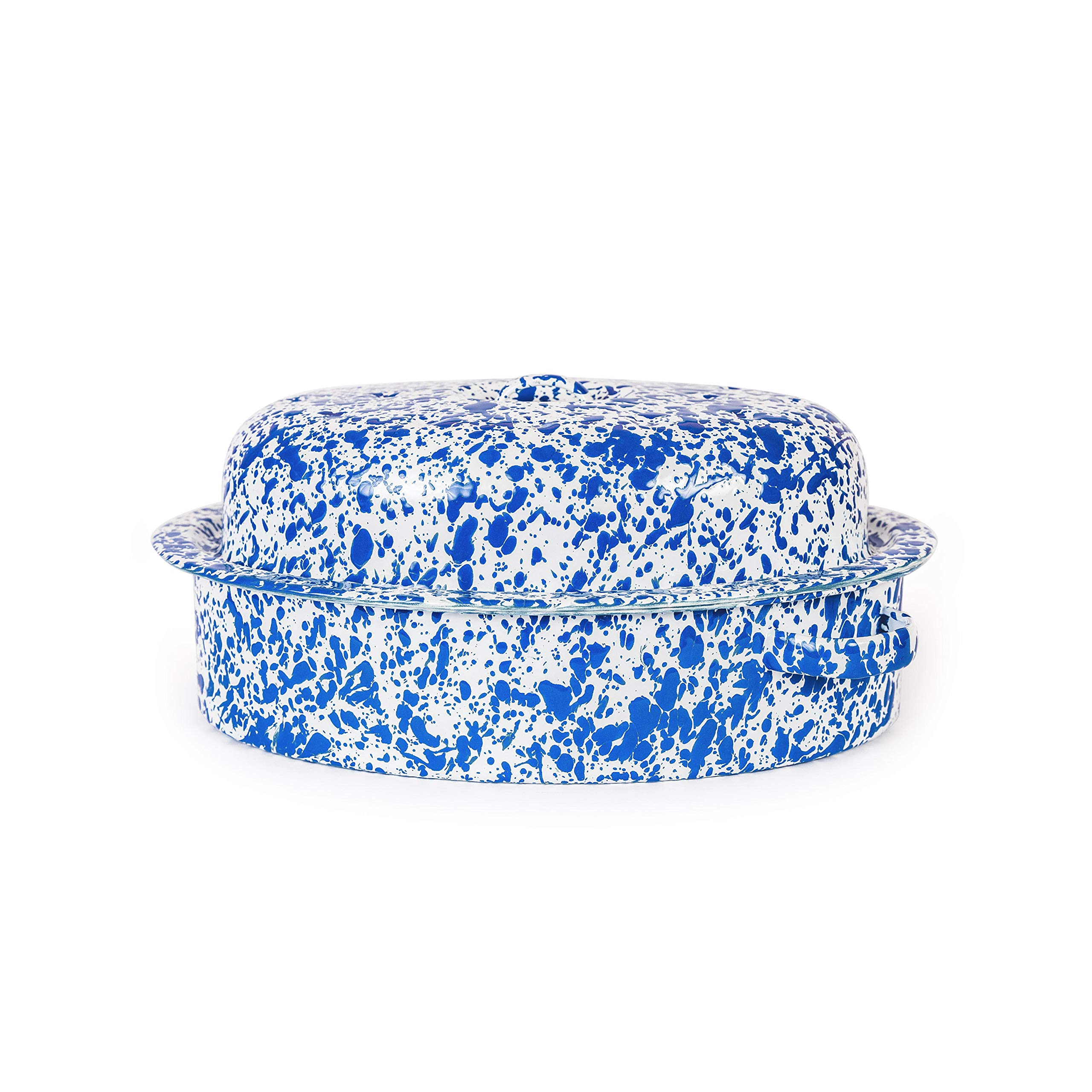 Enamelware Oval Covered Roaster, 3 quart, Blue/White Splatter by Crow Canyon Home