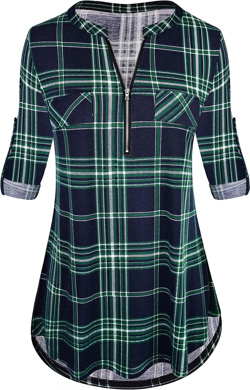 Odosalii - Camisa de manga corta con cuello en V para mujer, manga 3/4, con cremallera