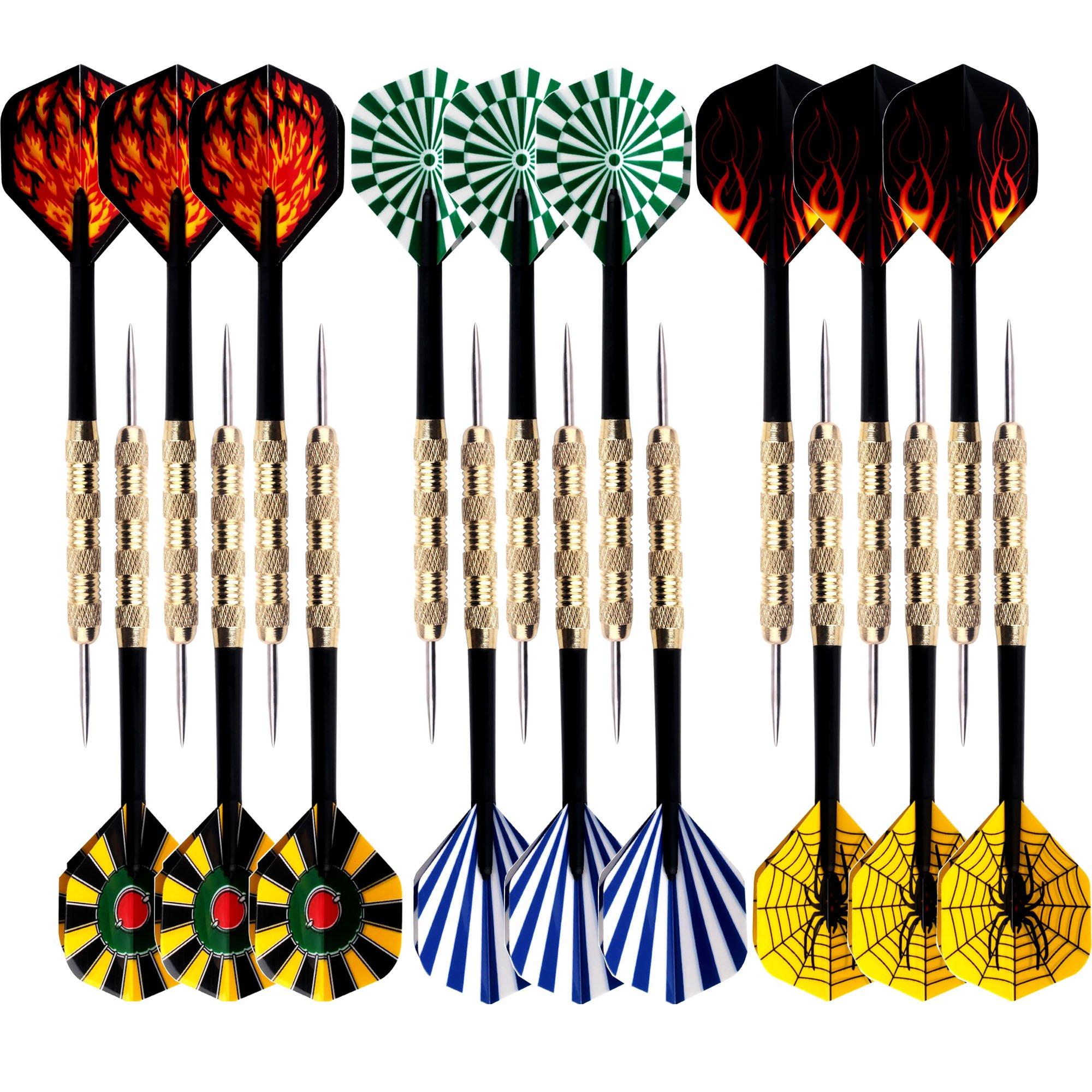 18 Packs of Steel Tip Darts Set Slim Barrel with PVC Dart Flights and Nylon Shafts