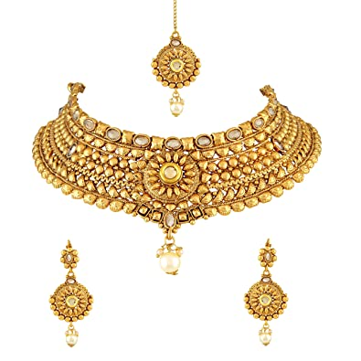 a751ce7490b12 Buy Asmitta Bewitching Gold Kundan Gold Plated Choker Style Necklace Set  with Mangtikka for Women Online at Low Prices in India