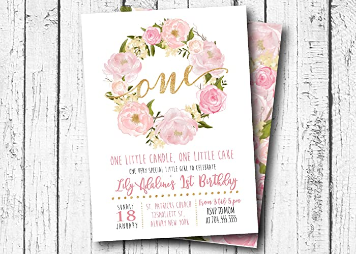 Amazon First Birthday InvitationPink Flower