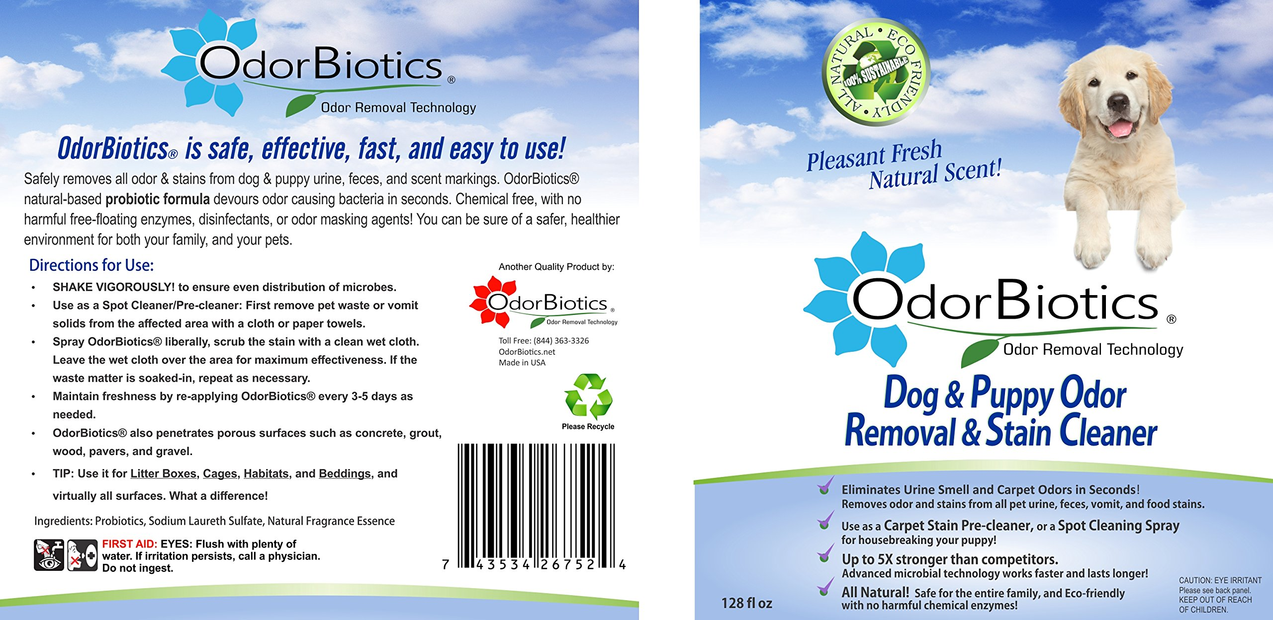 OdorBiotics Pet Stain & Odor Remover for Dog Beds, Playpens, Crates, Carriers, Kennels, Clothes, Puppy Toys, Eliminate Urine Smell on Carpet, Rugs, Hardwood Floors, Sofa Fabric, 128 oz Economy Size by OdorBiotics (Image #3)