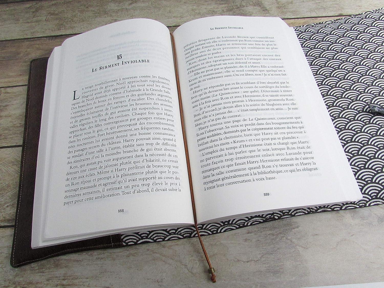 couvre livre en tissu simili cuir marron no/ël voyage anniversaire couverture livre format litt/éraire roman Prot/ège livre fait main cadeaux