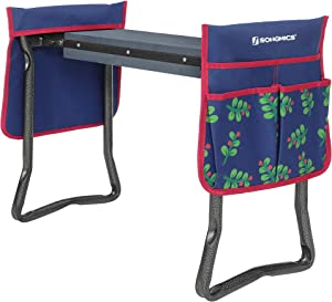 SONGMICS Garden Kneeler, Folding Garden Seat and Bench with Thickened Kneeling Pad and 2 Large Tool Bags, 330 lb Capacity, Gardening Gift, Green and Christmas Pattern UGGK050B01