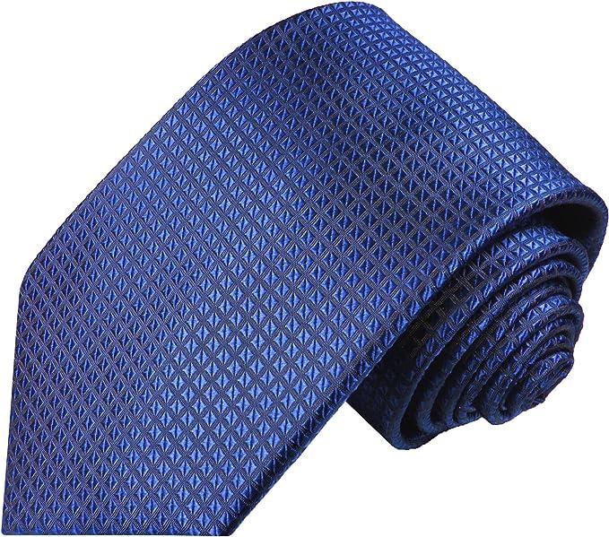 Paul Malone corbata de seda patrón de waffle azul real: Amazon.es ...