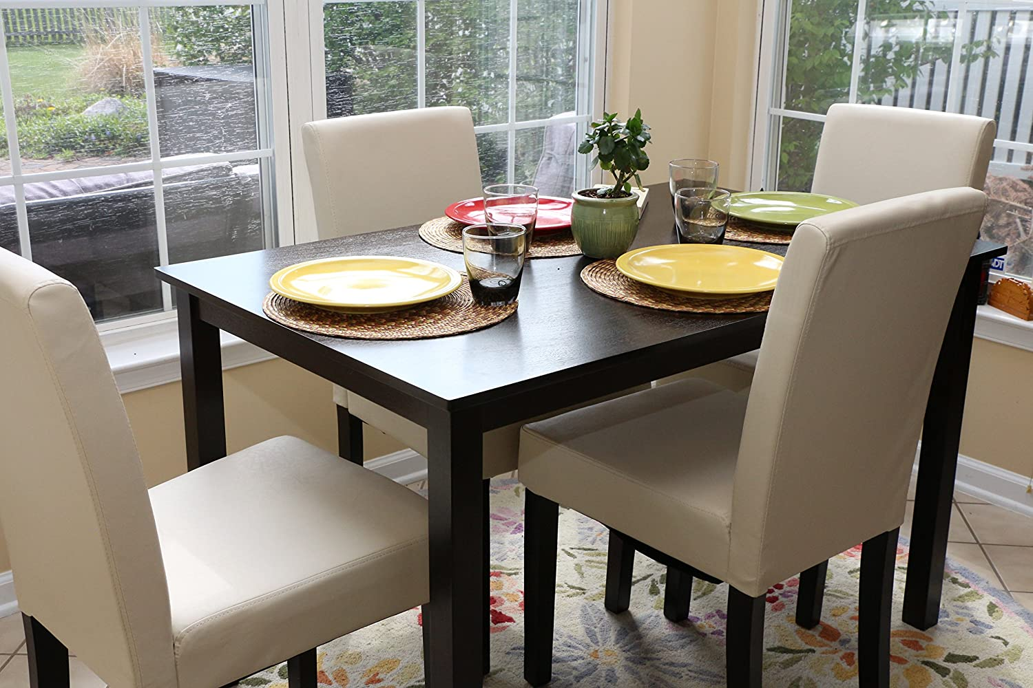 Amazon.com   5 PC Ivory Leather 4 Person Table And Chairs Ivory Dining  Dinette   Ivory Parson Chair   Table U0026 Chair Sets