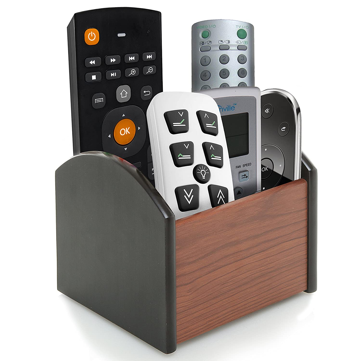 Remote Control Holder For Coffee Table Amazoncom Revolving Wooden 4 Compartment Desktop Office
