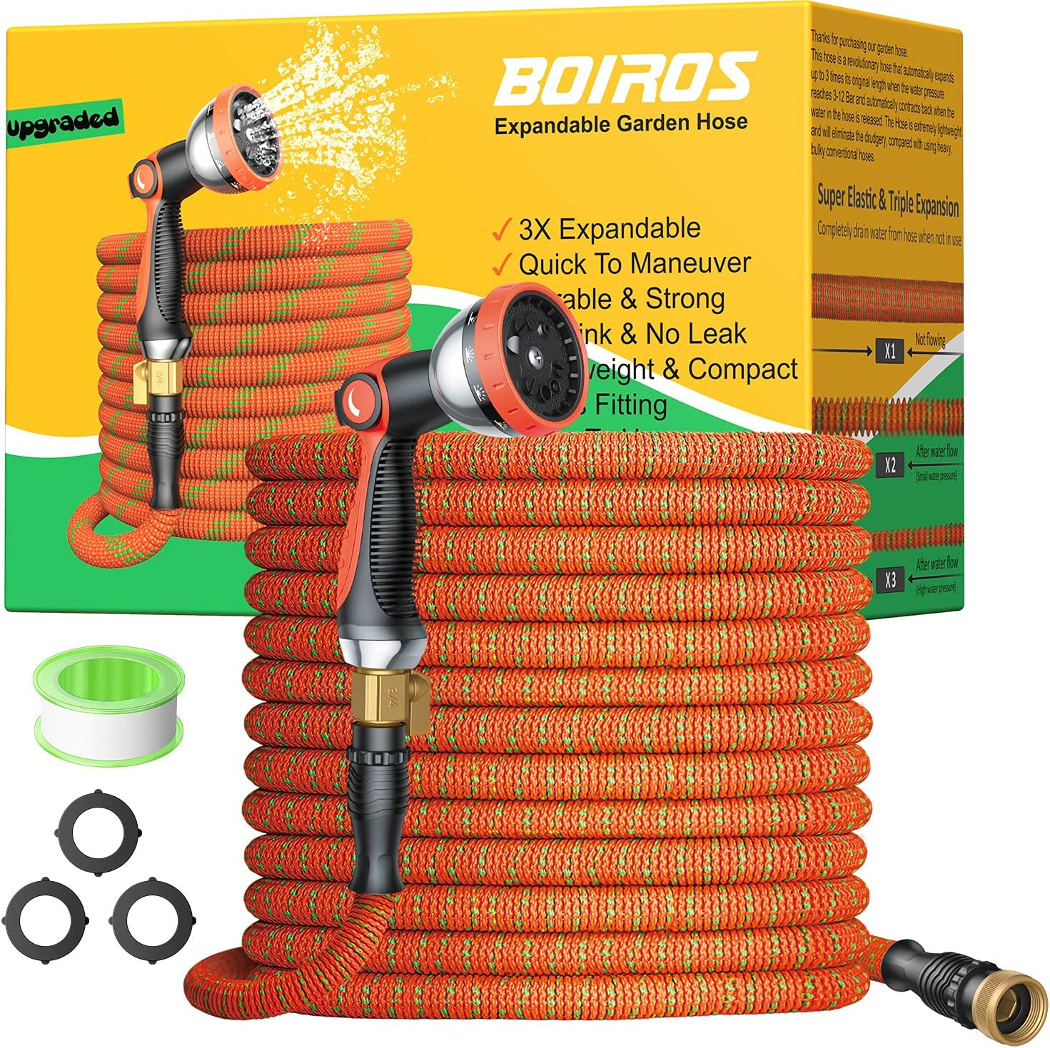 BOIROS Garden Hose 100ft, Expandable and Flexible Water Hose with 10 Function High-Pressure Spray Nozzle, Premium Solid Brass Connector Leakproof Latex Core Fittings No Kink Lightweight Expanding Hose
