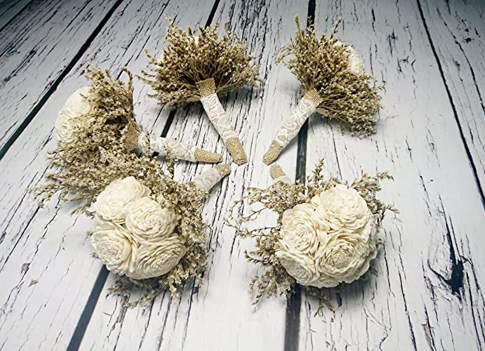 Amazon.com: Set of 5 Small Rustic Wedding Bridesmaids Bouquets Made ...