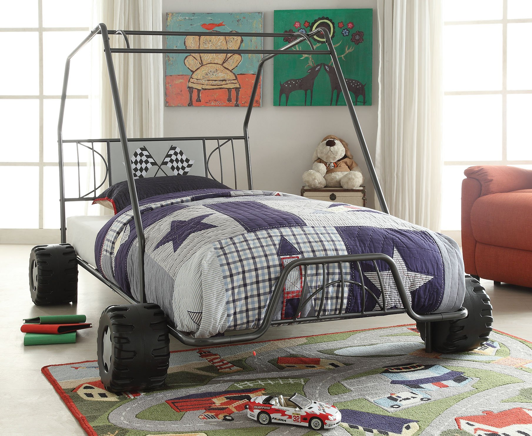 Acme Furniture 37640T 2 Count Xander Bed, Twin, Gunmetal Go Kart