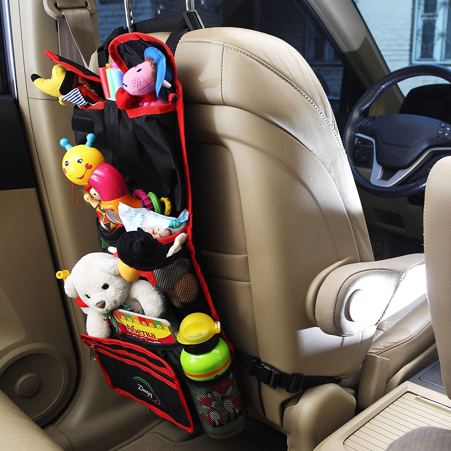 Amazon backseat organizer for kids 3 in 1 car organizer with amazon backseat organizer for kids 3 in 1 car organizer with hooks for hanging under the seat headrest and tablet case 97 black and red or blue thecheapjerseys Images