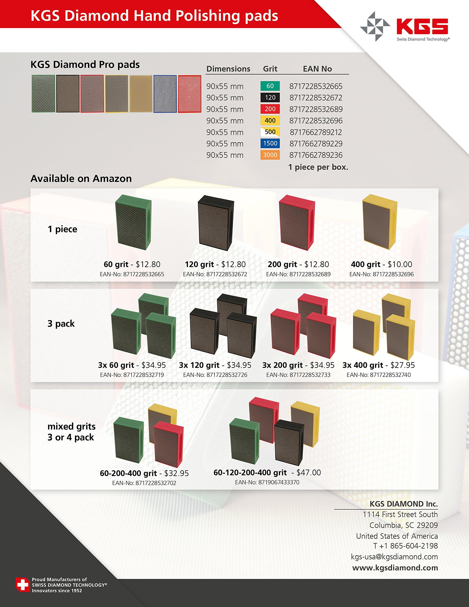 KGS Diamond Hand Polishing pads (3 Pack, Combination set (grit 60, 200, 400)) by KGS (Image #3)