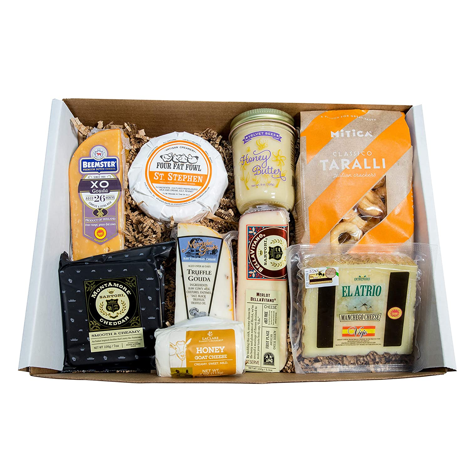 Classic Provisions Artisan Cheese Box – Wine Lovers   Cheese   Cheese Board   Cheese Gift Baskets   Holiday Gift   Appetizers   Cheese Platter   Gourmet Cheeses   Montamore   Gouda   Brie   Manchego