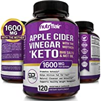 1600MG - Apple Cider Vinegar Capsules with Mother + Keto Diet Pills BHB Salts with MCT Oil - 120 Veggie Capsules - Best…