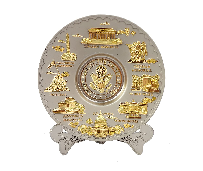 Washington D.C Metal Souvenir Plate 6.5 Diameter Gray and Gold