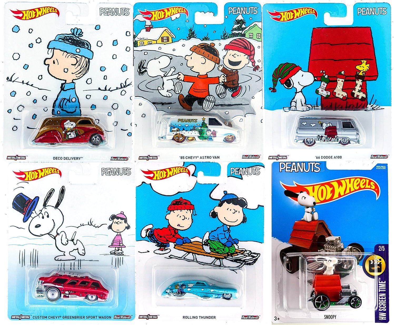 peanuts hot wheels snoopy brown christmas set