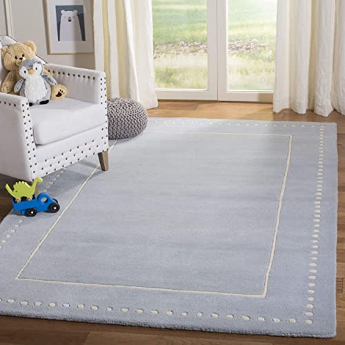 Safavieh Bella Collection BEL151A Handmade Light Blue and Ivory Premium Wool Area Rug 8' x 10'