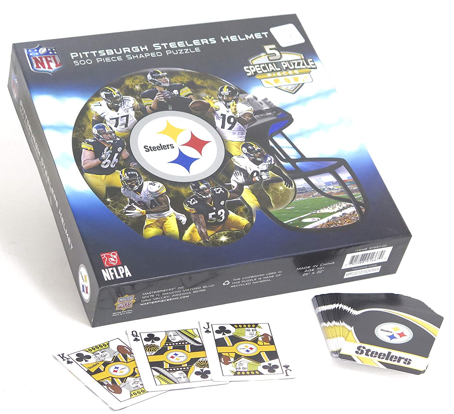 Pittsburgh Steelers Fun Set Includes Helmet Shaped Puzzle 500 Pieces and a Steelers Playing Card Deck.