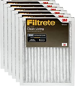 Filtrete 12x12x1, AC Furnace Air Filter, MPR 300, Clean Living Basic Dust, 6-Pack
