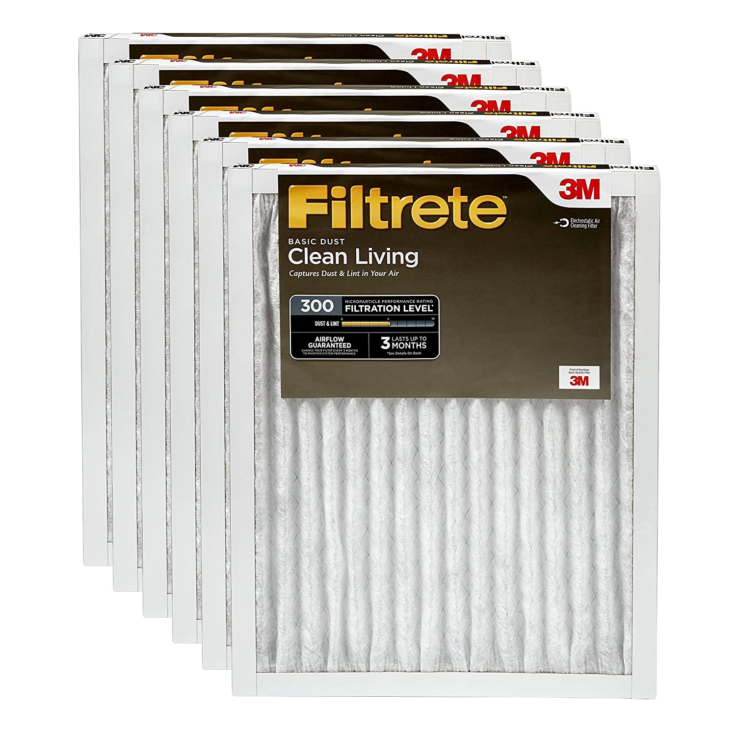 1. Filtrete 20x30x1, AC Furnace Air Filter, MPR 300, Clean Living Basic Dust, 6-Pack