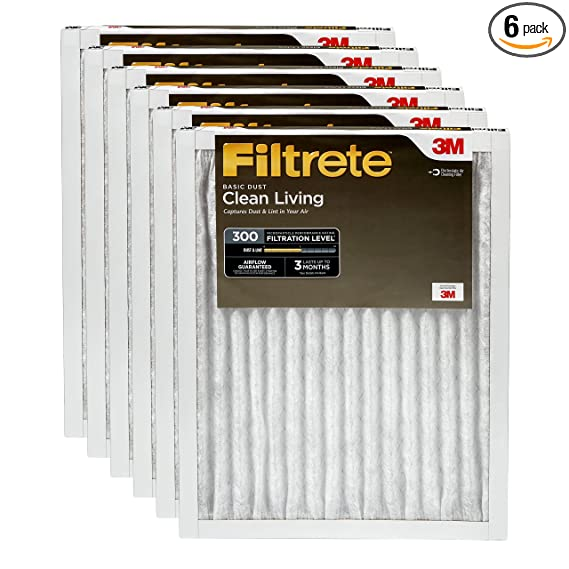 Filtrete 16x20x1, AC Furnace Air Filter, MPR 300, Clean Living Basic Dust, 6-Pack