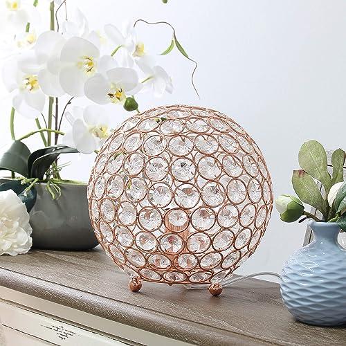 Elegant Designs LT1026-RGD Elipse 8 Inch Crystal Ball Sequin Table Lamp, Rose Gold
