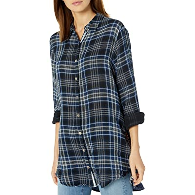 3J Workshop by Johnny Was Women's Plaid and Velvet Mix Blouse with Embroidery at Amazon Women's Clothing store