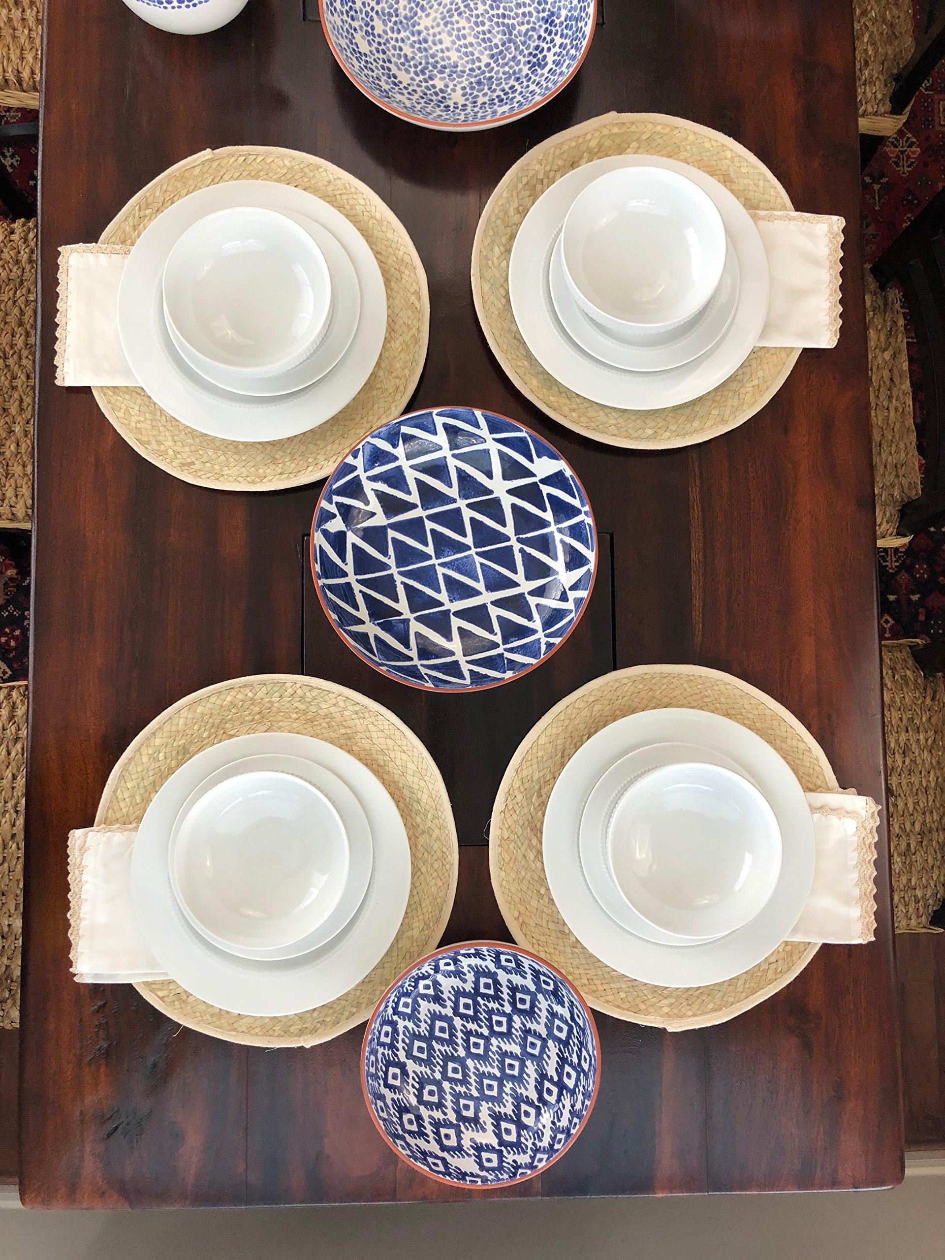 MoLi 100% Egyptian Cotton Cloth Dinner Napkins Hand Crocheted - Set of 6 Pack Lunch Linen - Elegant Decorative Fabric Handmade Table Linens - Servilletas de Tela Wedding Napkin (White) by MoLi (Image #4)