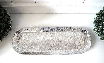 Tablett Oval Kerzentablett Aluminium Gehammert Ca 40cm Silber Metall