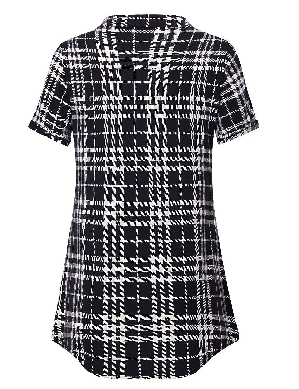 2d43facc346de4 Youtalia Women's Summer Short Sleeve Plaid Blouses Button Down T Shirt  Casual Tunics at Amazon Women's Clothing store: