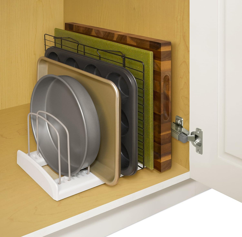 Kitchen Pan Storage Amazoncom Youcopia Storemore Adjustable Bakeware Rack Kitchen