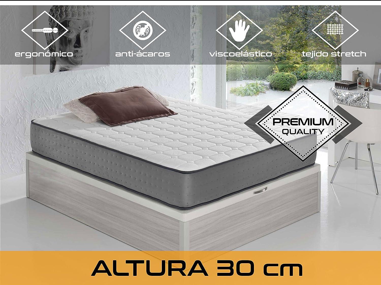 Relaxing - Confort Elax 30 5.0 - Colchón viscoelástico y grafeno, Blanco/Gris, 140 x 190 x 30 cm: Amazon.es: Hogar