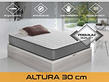 Dormi Premium Elax 30 - Colchón Viscoelástico, 90 x 200 x 30 cm, Algodón/Poliuretano, Blanco/Gris, Individual: Amazon.es: Hogar